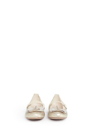 Figure View - Click To Enlarge - Stuart Weitzman - 'Fannie Jewel Strap' strass bow kids ballerinas