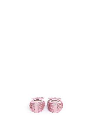 Back View - Click To Enlarge - Stuart Weitzman - Bow perforated glitter infant ballerinas