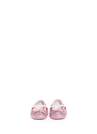 Figure View - Click To Enlarge - Stuart Weitzman - Bow perforated glitter infant ballerinas