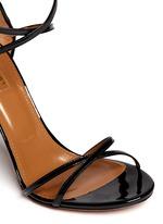 'Pina Colada 105' pineapple appliqué patent leather sandals