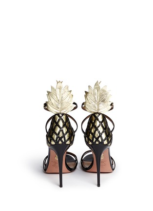 Back View - Click To Enlarge - Aquazzura - 'Pina Colada 105' pineapple appliqué patent leather sandals