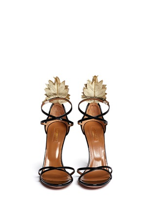 Front View - Click To Enlarge - Aquazzura - 'Pina Colada 105' pineapple appliqué patent leather sandals