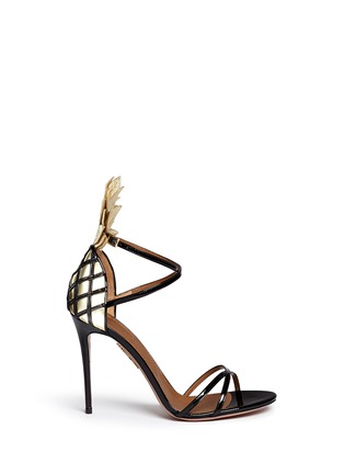 Main View - Click To Enlarge - Aquazzura - 'Pina Colada 105' pineapple appliqué patent leather sandals