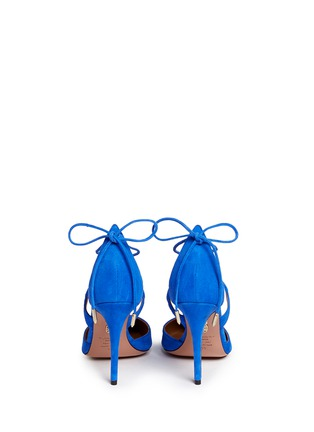 Back View - Click To Enlarge - Aquazzura - 'Matilde 105' lace-up tie back suede pumps