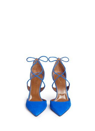 Front View - Click To Enlarge - Aquazzura - 'Matilde 105' lace-up tie back suede pumps