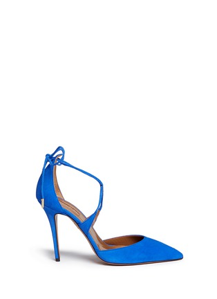 Main View - Click To Enlarge - Aquazzura - 'Matilde 105' lace-up tie back suede pumps