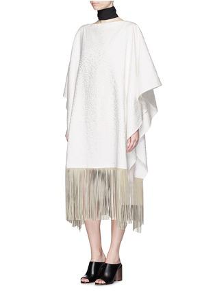 模特儿示范图 - 点击放大 - AGNONA - 流苏装饰长款斗篷外套
