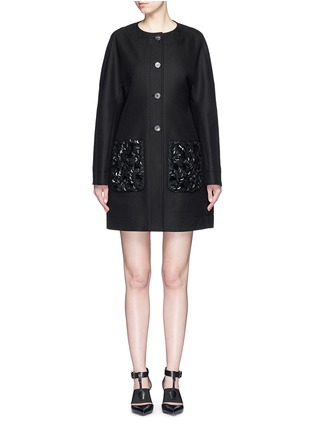 Main View - Click To Enlarge - Balenciaga - Floral sequin embellished twill cocoon jacket