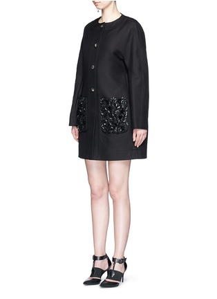 Figure View - Click To Enlarge - Balenciaga - Floral sequin embellished twill cocoon jacket