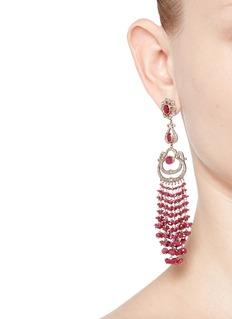 Aishwarya Diamond 18k yellow gold silver ruby drop earrings