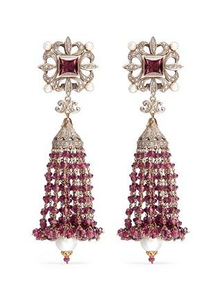 Aishwarya-Diamond pearl tourmaline drop earrings