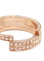 Diamond 18k rose gold three tier ring