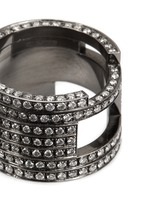 Diamond black rhodium plated 18k white gold seven tier ring