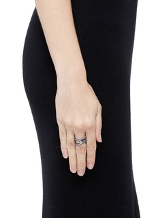 DauphinDiamond black rhodium plated 18k white gold seven tier ring