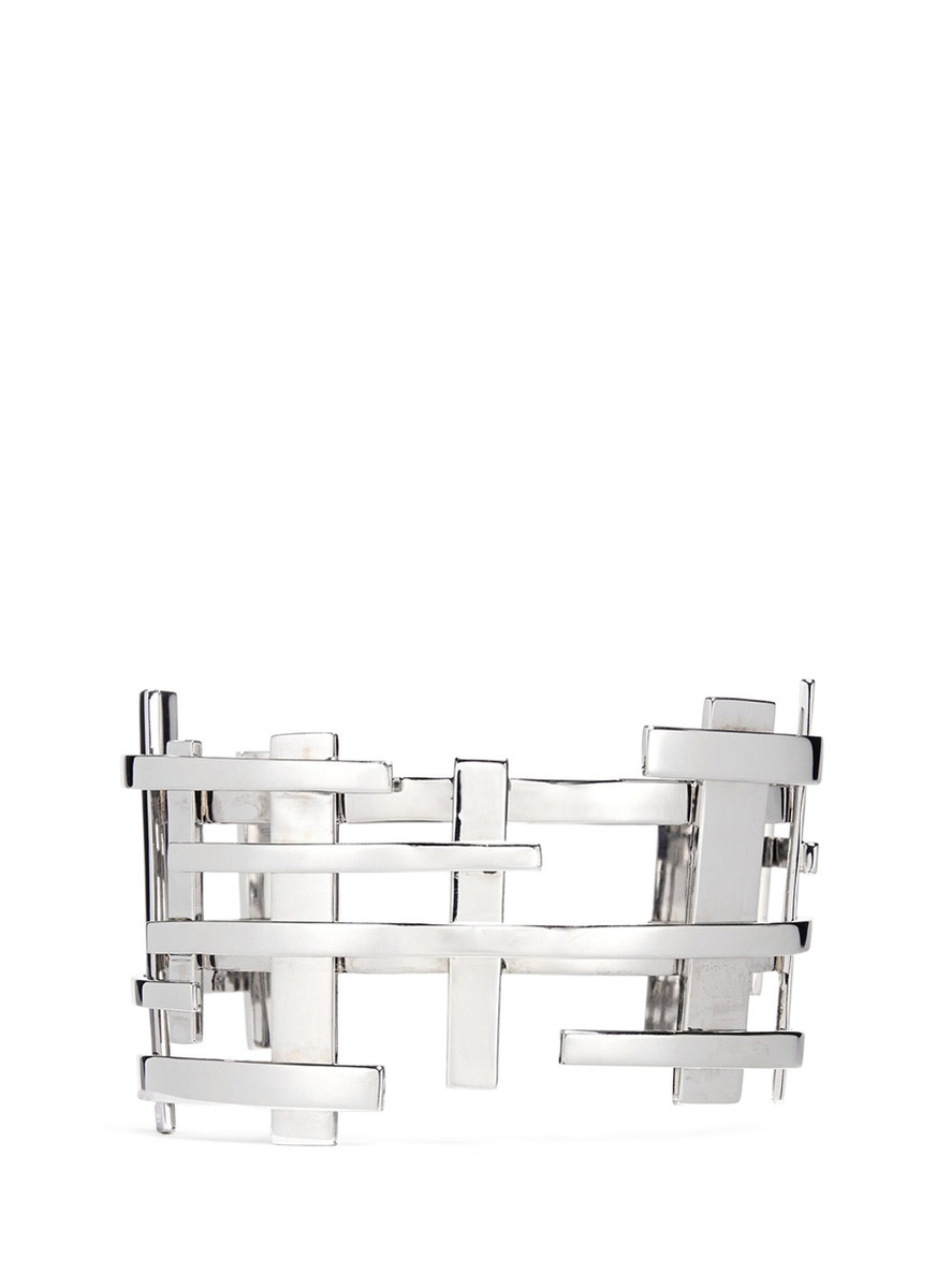 18k white gold openwork lattice cuff by Dauphin