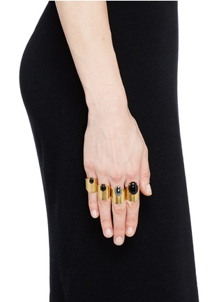 Figure View - Click To Enlarge - Ela Stone - 'Lior' onyx hematite four ring set