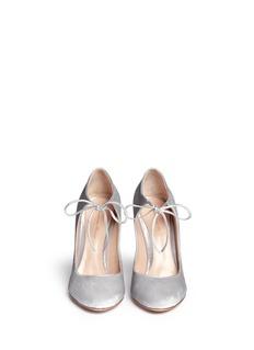 GIANVITO ROSSI'Jolene' leather lace-up velvet pumps