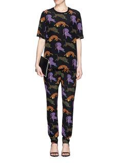 STELLA MCCARTNEYWild cat print silk jogging pants
