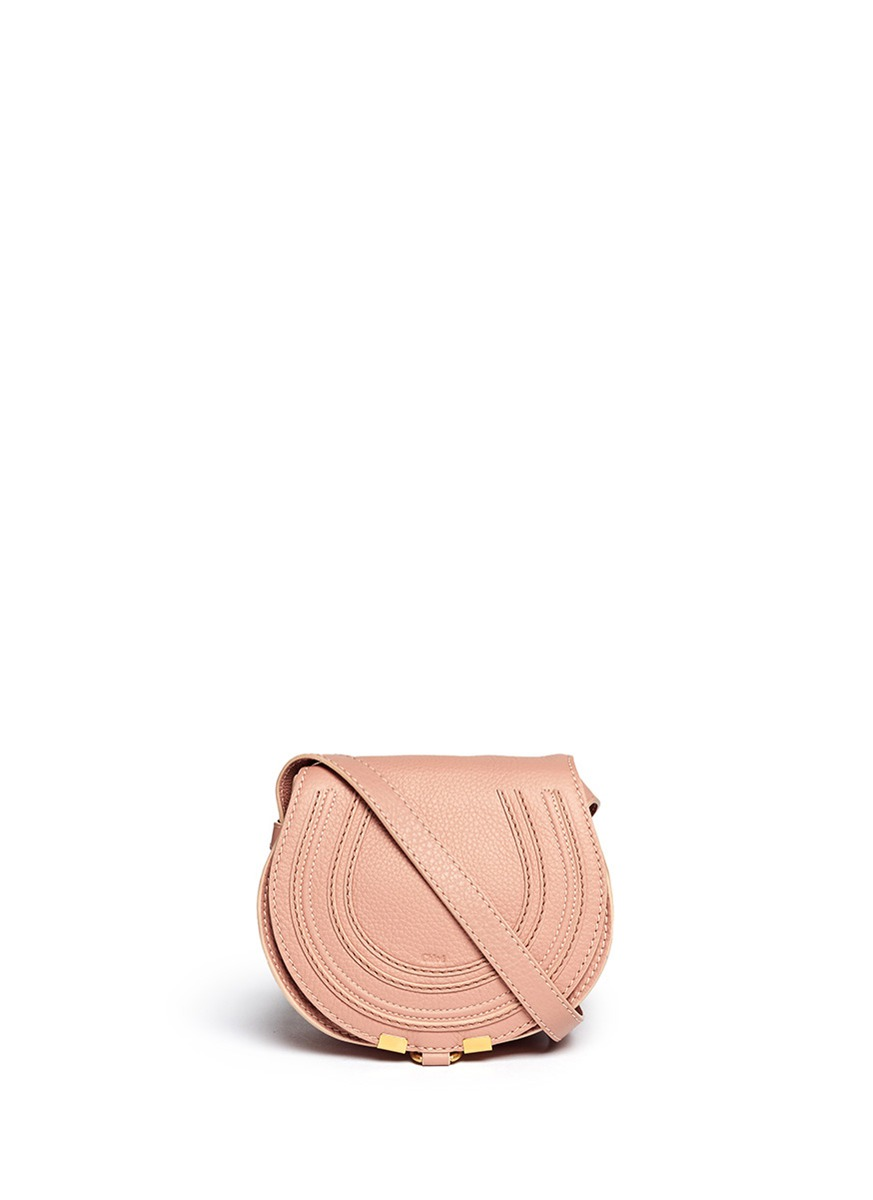 CHLO¨¦ - \u0026#39;Marcie\u0026#39; small leather crossbody saddle bag | Pink ...