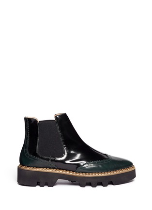 Main View - Click To Enlarge - Fabio Rusconi - 'Abrasivato' brogue leather Chelsea boots