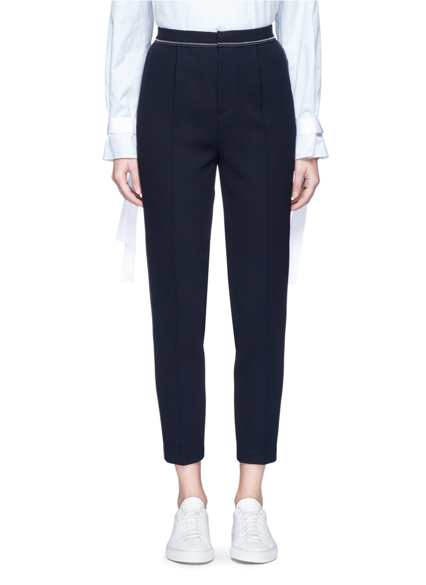 Zigzag topstitch textured crepe pants by Comme Moi