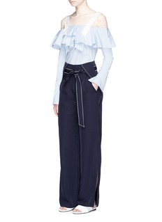 Comme Moi Split cuff belted twill wide leg pants