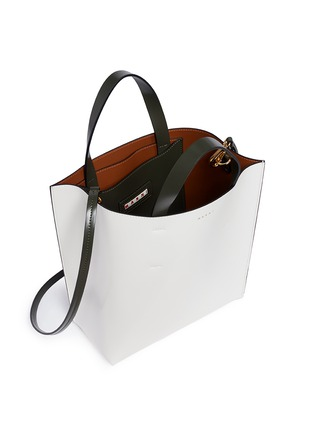 - Marni - 'Museo' leather shopper tote with removable drawstring bag