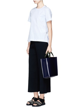 Front View - Click To Enlarge - Marni - 'Museo' leather shopper tote with removable drawstring bag
