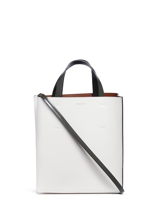 Main View - Click To Enlarge - Marni - 'Museo' leather shopper tote with removable drawstring bag