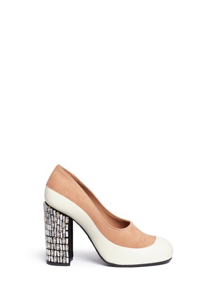 Main View - Click To Enlarge - Marni - Embellished heel suede and leather pumps