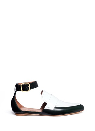 Main View - Click To Enlarge - Marni - 'Sabot' colourblock ankle strap leather loafers