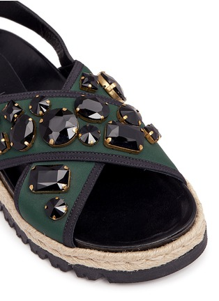 Detail View - Click To Enlarge - Marni - 'Fussbett' jewelled neoprene espadrille slide sandals