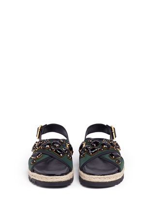 Front View - Click To Enlarge - Marni - 'Fussbett' jewelled neoprene espadrille slide sandals