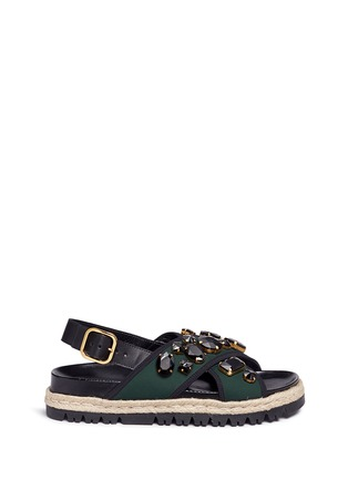 Main View - Click To Enlarge - Marni - 'Fussbett' jewelled neoprene espadrille slide sandals