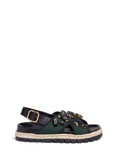 Marni 'Fussbett' jewelled neoprene espadrille slide sandals