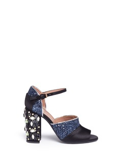 Marni Jewelled heel satin coarse glitter sandals