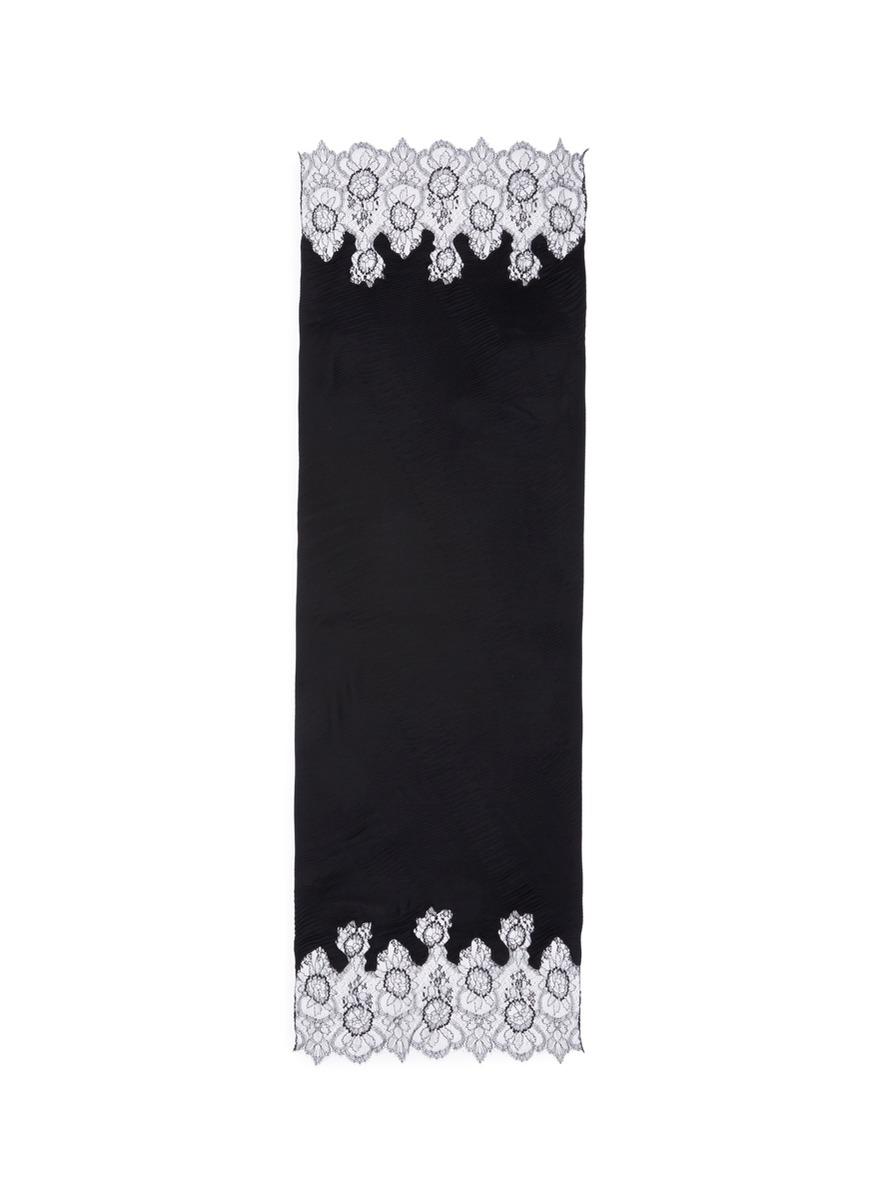 Floral lace trim plissé pleat modal blend scarf by Valentino