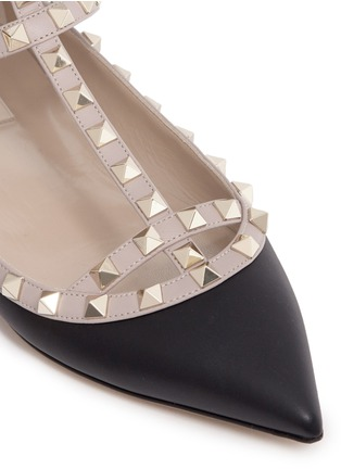 Detail View - Click To Enlarge - Valentino - 'Rockstud' caged colourblock leather skimmer flats