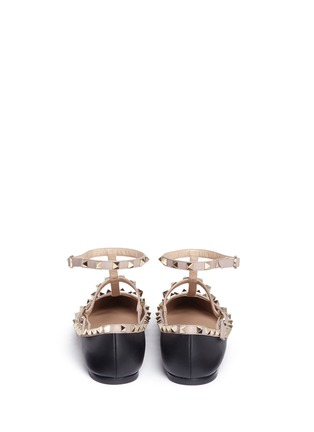 Back View - Click To Enlarge - Valentino - 'Rockstud' caged colourblock leather skimmer flats