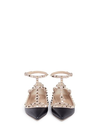 Front View - Click To Enlarge - Valentino - 'Rockstud' caged colourblock leather skimmer flats