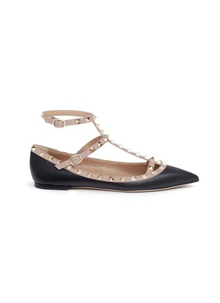 Main View - Click To Enlarge - Valentino - 'Rockstud' caged colourblock leather skimmer flats