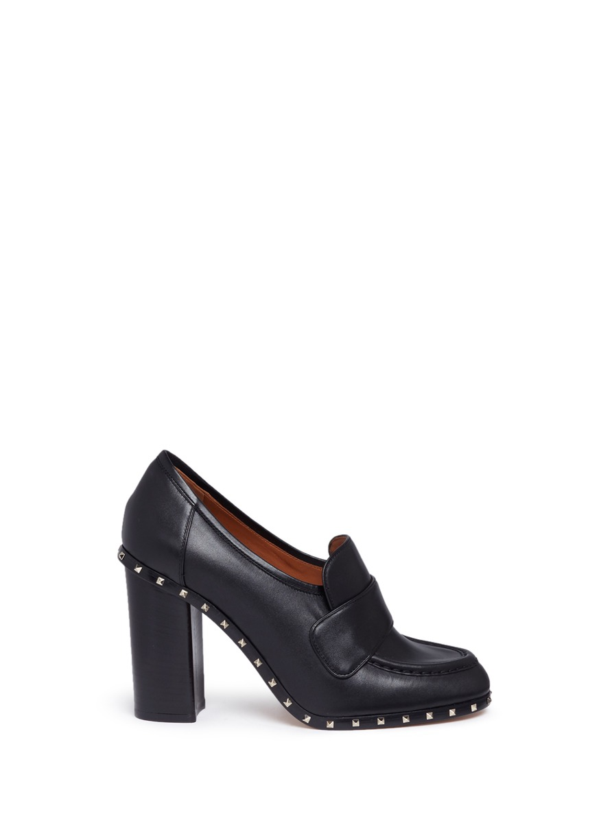 Soul Rockstud calfskin leather loafer pumps by Valentino