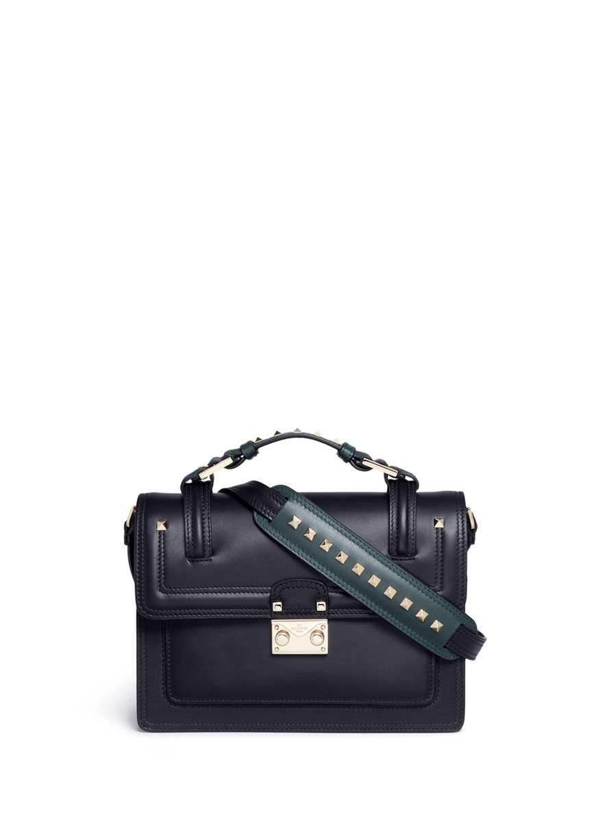 Cabana small leather top handle satchel by Valentino