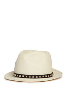 Valentino'Rockstud' band toquilla straw fedora hat