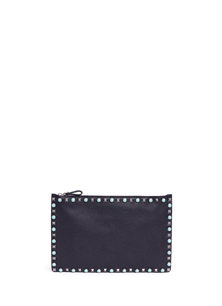valentino female rockstud rolling large cabochon stud leather flat zip pouch