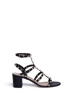VALENTINORockstud铆钉点缀粗跟真皮凉鞋