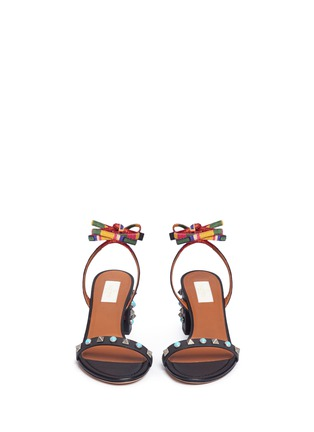 Front View - Click To Enlarge - Valentino - 'Rockstud Rolling' native ankle tie sandals