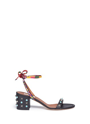 Main View - Click To Enlarge - Valentino - 'Rockstud Rolling' native ankle tie sandals