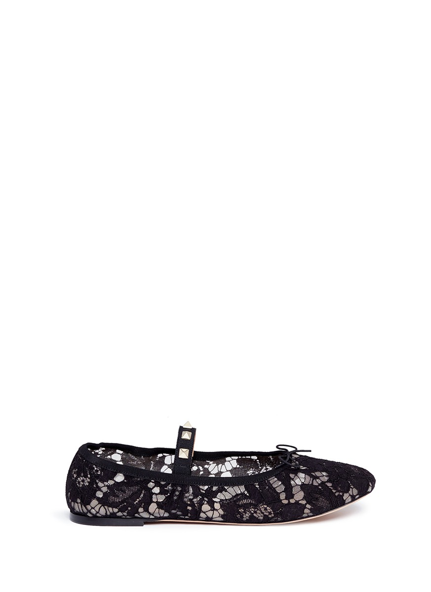 Rockstud elastic band guipure lace ballet flats by Valentino
