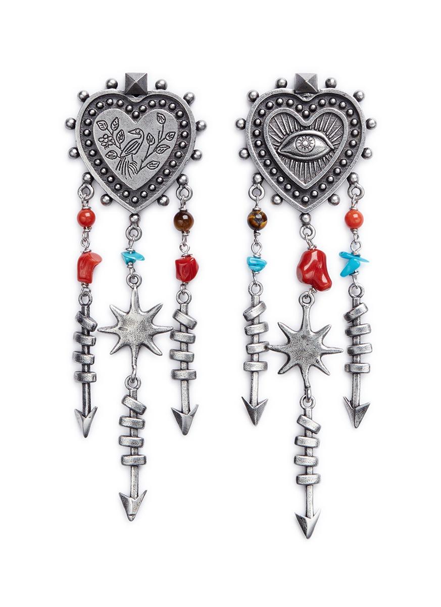 Santeria ethnic heart arrow drop earrings by Valentino